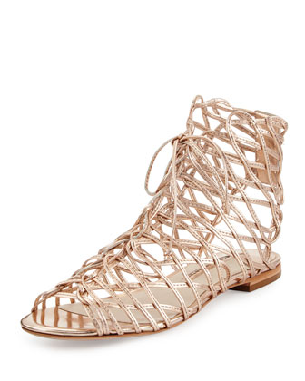 Dephine Lace-Up Flat Gladiator Sandal, Gold