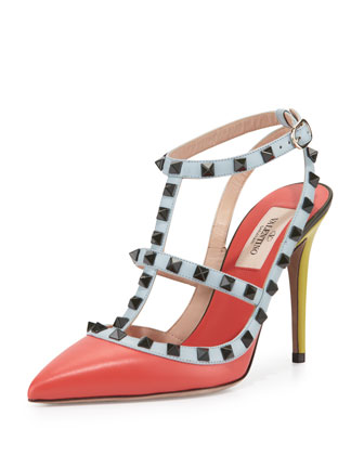 Lacquered Rockstud Leather 100mm Pump, Coral/Avocado