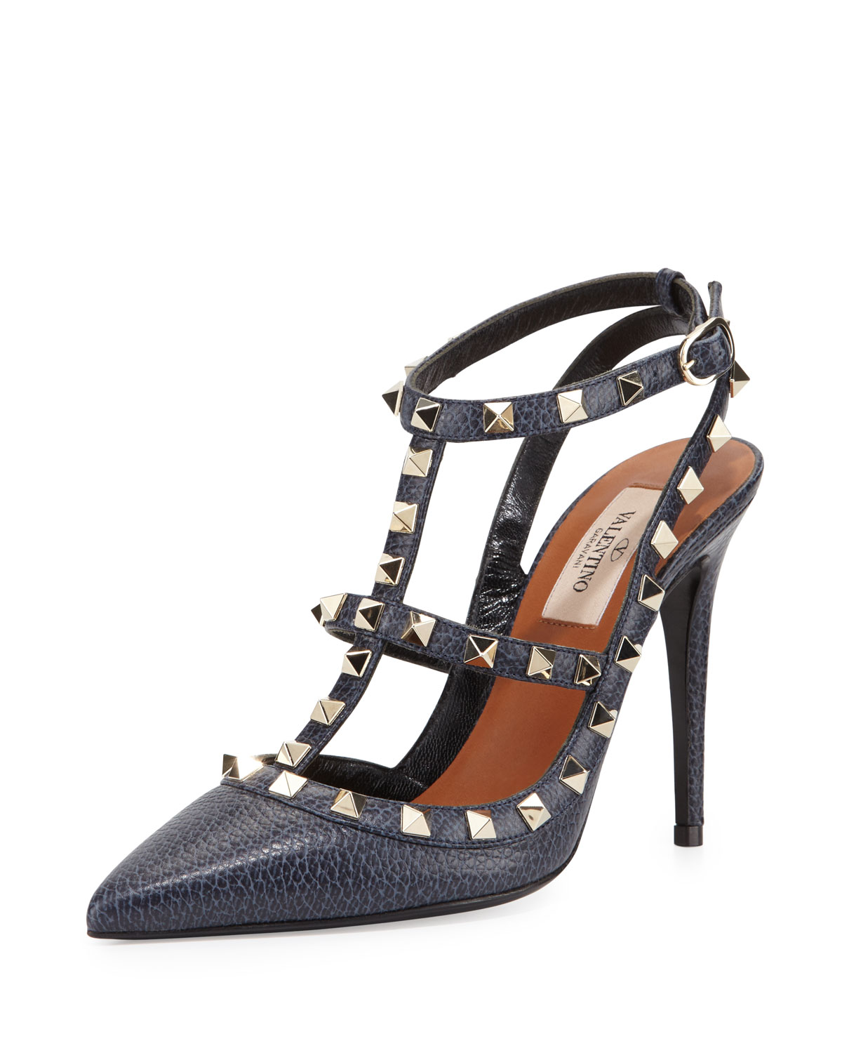 Pebbled Leather Rockstud Sandal, Deep Denim - Valentino