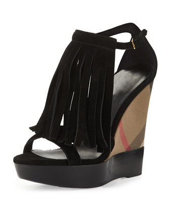Minstead Fringe Check Wedge Sandal, Black