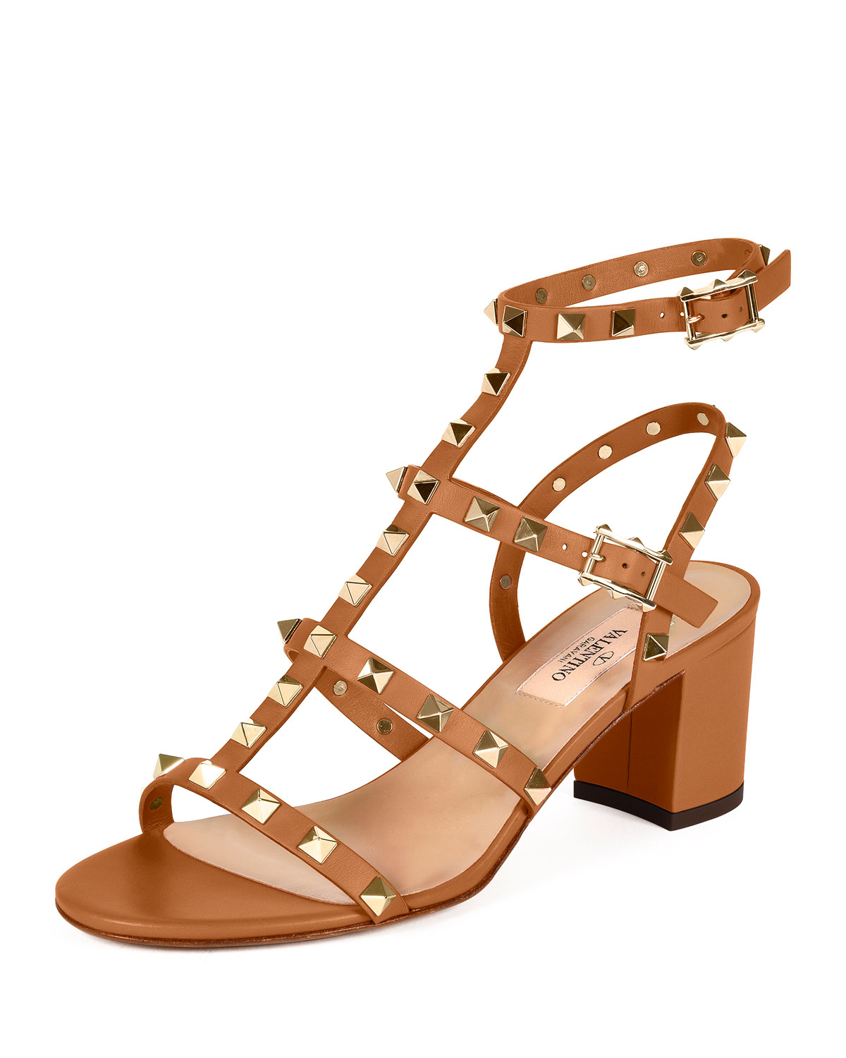 Rockstud Leather City Sandal, Light Cuir, Size: 35.0B/5.0B, Lt Cuir - Valentino