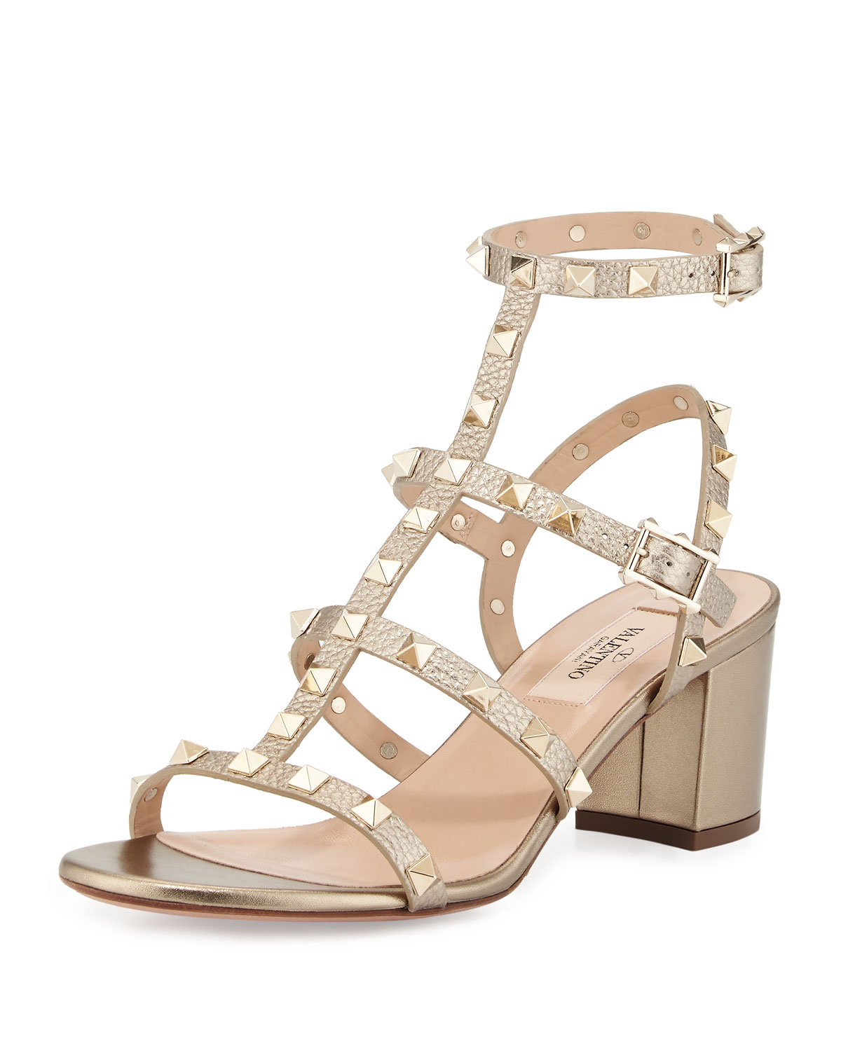 Red Valentino Rockstud Leather City Sandal, Alba, Women's, Size: 35.5B/5.5B