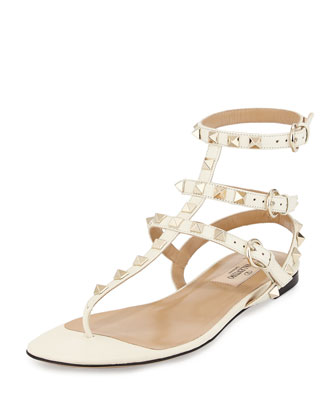 Rockstud Leather Gladiator Sandal, Light Ivory