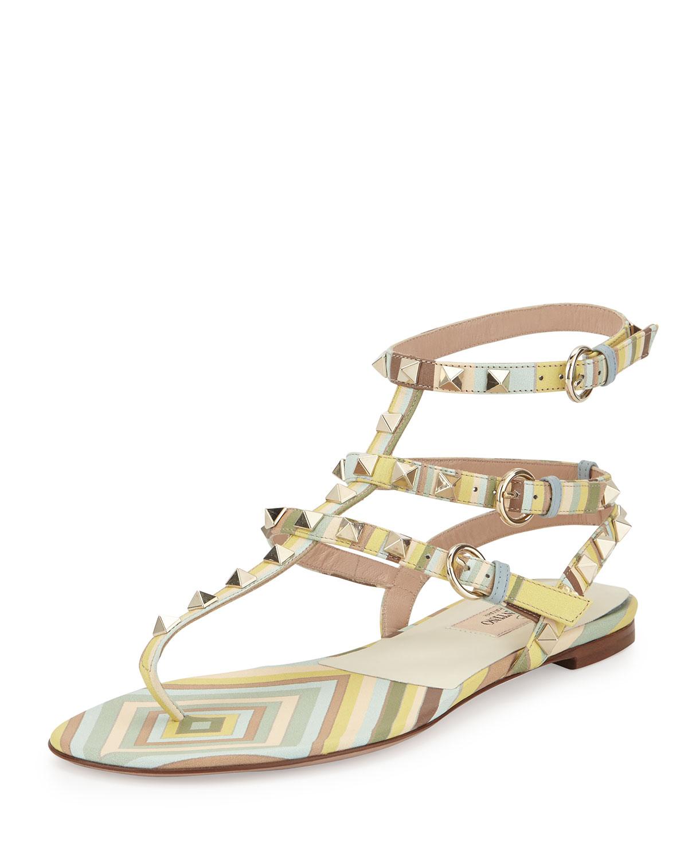 Rockstud Harlequin-Print Flat Gladiator Sandal, Green Tea Sorbet, Size: 35.0B/5.0B, Green Tea Multi - Valentino