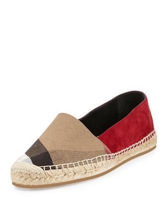 Hodgeson Check-Canvas Espadrille, Dark Crimson