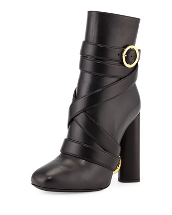 Belted Leather Ankle Boot, Black