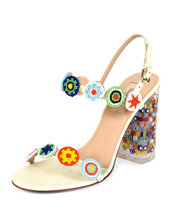 Beaded Leather Sandal with Floral-Lucite Heel, Light Ivory
