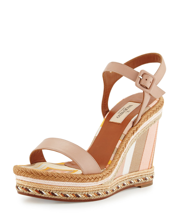 Striped Leather Espadrille Sandal, Skin Sandal/Mandarin, Size: 35.0B/5.0B, Skin Sorbet/Manda - Valentino