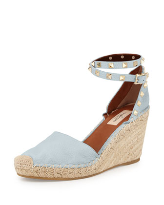 Rockstud Leather Espadrille Wedge, Sky Sorbet/Light Cuir