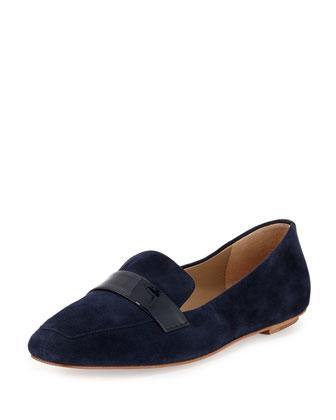 Fab Patent-Strap Suede Loafer, Blazer Blue