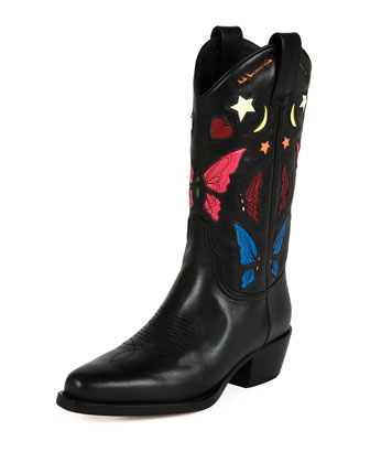 Butterfly-Embroidered Western Boot, Nero/Multi