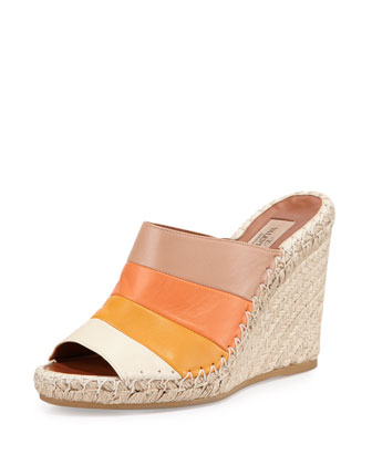 Striped Leather Espadrille Sandal, Mandarin Sorbet