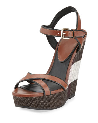 Whelan Check Wedge Sandal, Dark Umber Brown