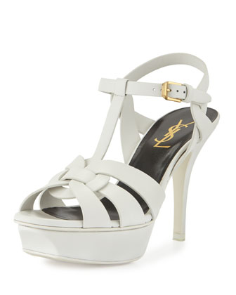 Tribute Leather Mid-Heel Sandal, Porcellana