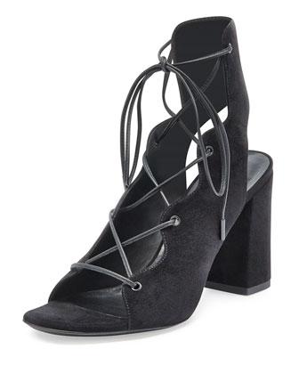 Babies Suede Lace-Up Sandal, Black (Noir)