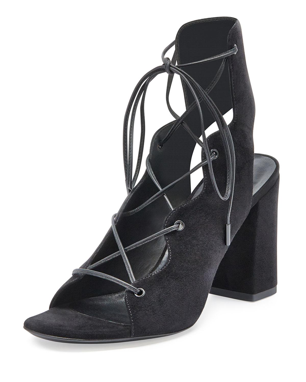 Babies Suede Lace-Up Sandal, Black (Noir) - Saint Laurent