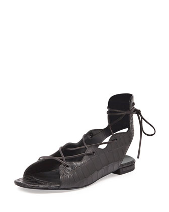 Babies Croc-Embossed Lace-Up Flat, Black