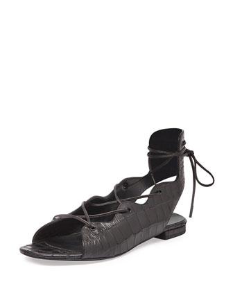 Babies Croc-Embossed Lace-Up Flat, Black