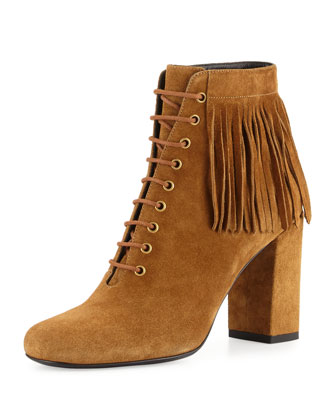 Fringed Suede Lace-Up Boot, Tan