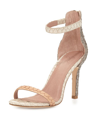 Abbott Fish-Skin d'Orsay Sandal, Clay/Dove/Parchment