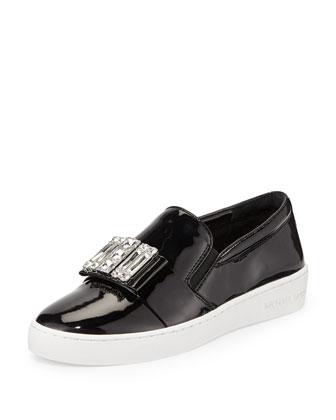Michelle Faux-Patent Jewel Sneaker, Black