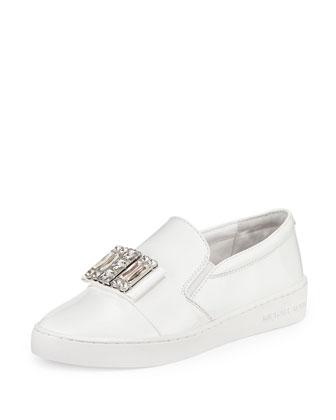 Michelle Faux-Patent Jewel Sneaker, Optic White