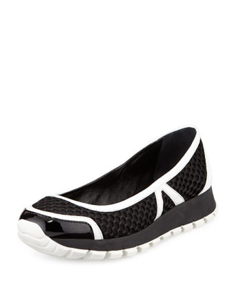 Mesh Slip-On Ballerina Sneaker, Black/White (Nero/Bianco)