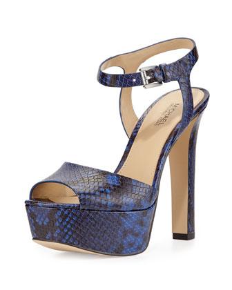 Trish Snake-Print Platform Sandal, Electric Blue