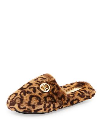 Jet Set Faux-Fur Slipper, Cheetah/Natural