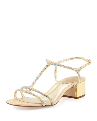 Crystal 40mm T-Strap Sandal, Gold