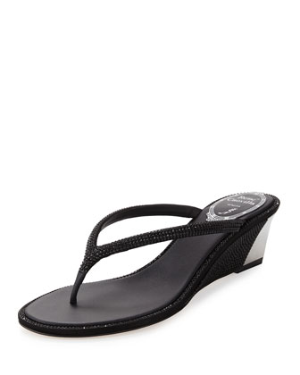 Crystal Wedge Thong Sandal, Black