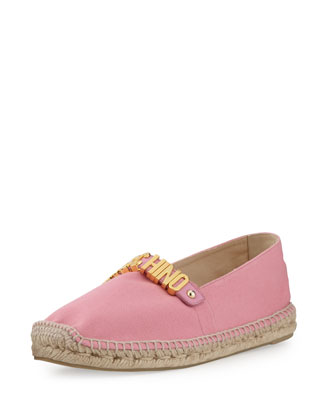Lettering Canvas Espadrille Flat, Pink
