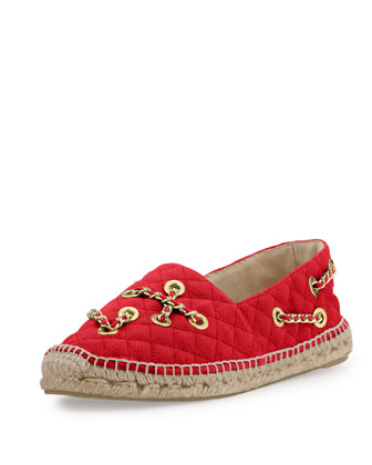 Crazy Chain Canvas Slip-On Espadrille, Red