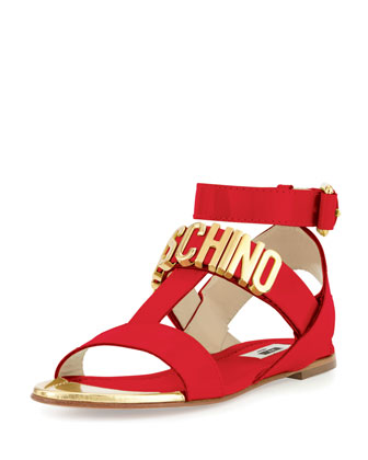 Lettering Brushed Calf Flat Sandal, Red