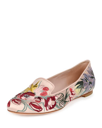 Floral-Embroidered Satin Loafer, Nude/Multi
