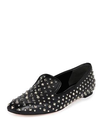 Studded Leather Loafer, Black
