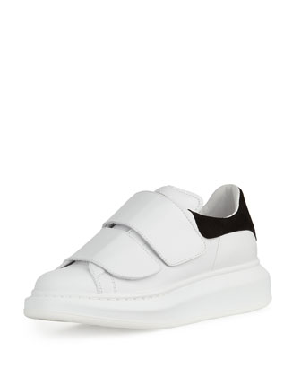 Leather Grip-Strap Low-Top Sneaker, White/Black