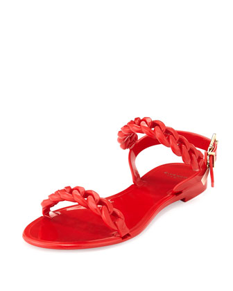 Jelly Chain-Link Flat Sandal, Red