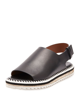 Leather Slingback Espadrille Sandal, Black