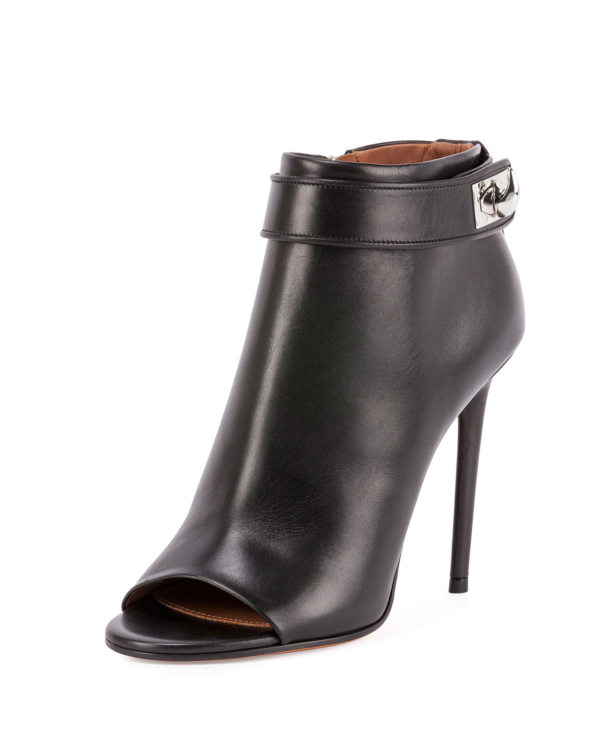 Shark-Lock Open-Toe Bootie, Black - Givenchy