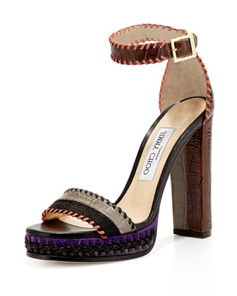 Holly Textured 120mm Sandal, Black/Dust/Pecan