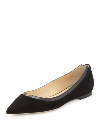 Imogen Suede Pointed-Toe Ballerina Flat, Black