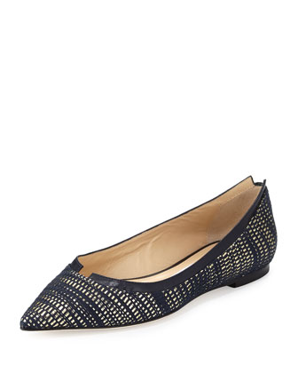 Imogen Metallic Pointed-Toe Ballerina Flat, Navy/Gold