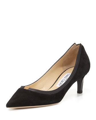 Imogen Pointed-Toe Kitten-Heel Pump, Black