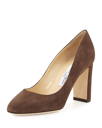 Laria Suede 85mm Pump, Pecan