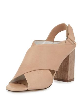 Faine Chunky-Heel Leather Sandal, Nude