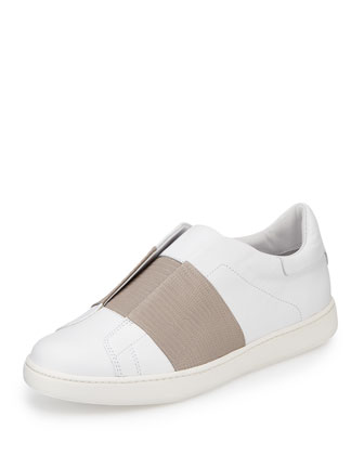 Vista Embossed Leather Sneaker, Plaster/Light Gray
