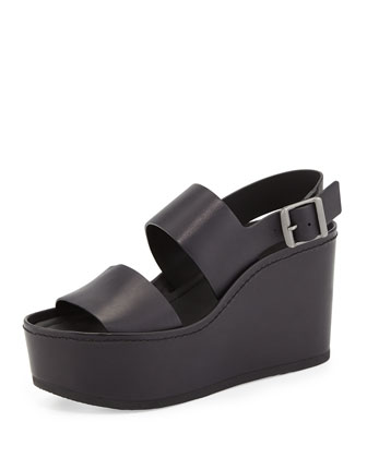 Idalia Leather Platform Sandal, Black