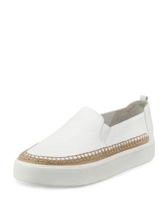 Bates Espadrille Skate Sneaker, White/Burlap