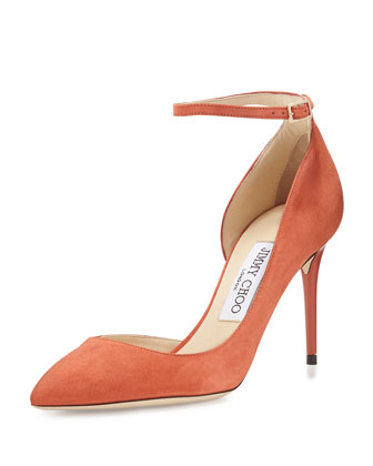 Lucy Half-d'Orsay Suede Pump, Agate